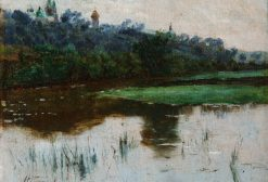 Landscape with a Pond and Church | Mikhail Vasilevich Nesterov | Oil Painting