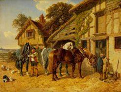 Three Horses and Ducks in Stable | John Frederick Herring