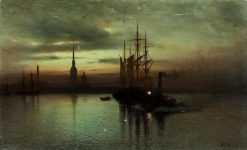Harbor with boats at twilight | Lev Lagorio | Oil Painting