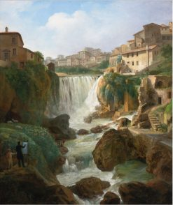 A View Of The Cascades At Tivoli With An Artist Sketching And Other Figures | Simon Denis | Oil Painting