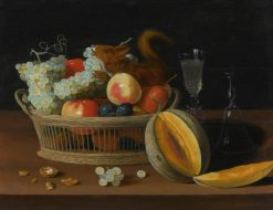 Still Life with a Basket of Fruit and a Squirrel