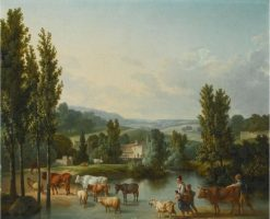 A shepherd and his family with their livestock fording a stream in an extensive landscape | Jean-Baptiste Huet | Oil Painting