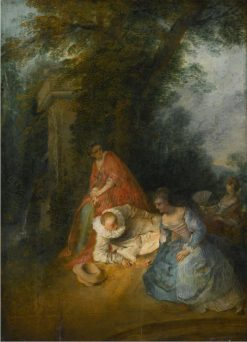 Pierrot with Three Women in a Park | Nicolas Lancret | Oil Painting