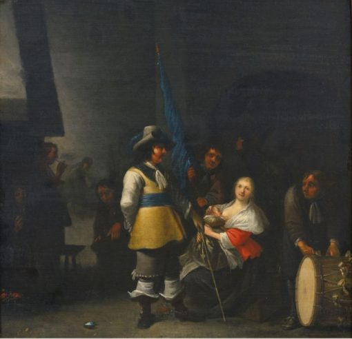 Interior of a Guardroom with Soldiers