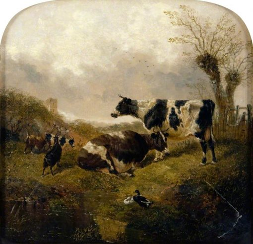 Two Cows with Goats and Ducks in a Landscape | John Frederick Herring