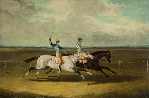 Two Racehorses – Grey Momus and Caravan – Racing | John Frederick Herring