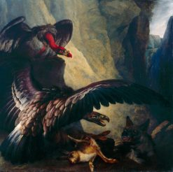 Eagle and Vulture Disputing with a Hyena | Philip Reinagle | Oil Painting