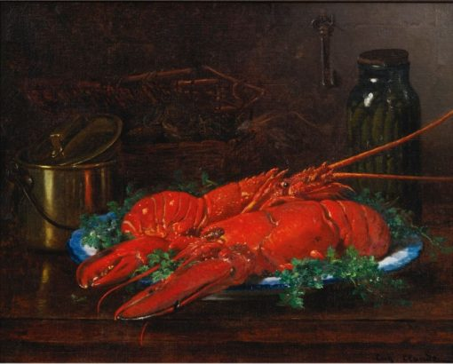 Still Life of a Lobster with a Copper Pot on a Ledge | Eugene Claude | Oil Painting