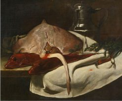 Still Life with Sting Ray and Red Mullets | Francois Bonvin | Oil Painting