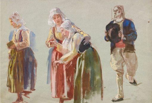 Studies of Brittany Peasants | John Joseph Benjamin Constant | Oil Painting