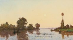 Sunset on a River | Hippolyte-Camille Delpy | Oil Painting