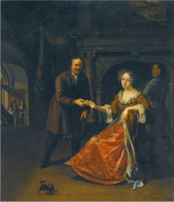 An Elegant Lady Seated In An Interior Receiving a Letter From a Footman | Matthijs Naiveu | Oil Painting