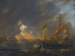 Mediterrannean Coast at Dawn with a Galliot Preparing to Unload its Cargo   Lieve Verschuier   Oil Painting