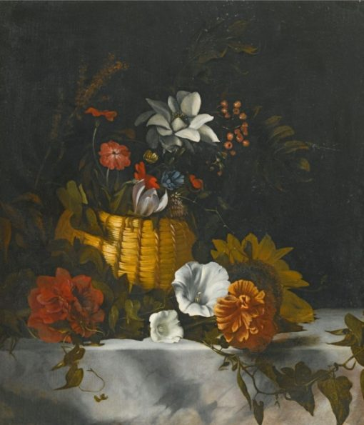 A Still Life of a Basket of Flowers on a Large Marble Ledge | Dirck de Bray | Oil Painting