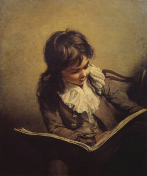 A Boy Reading   Ramsay Richard Reinagle   Oil Painting