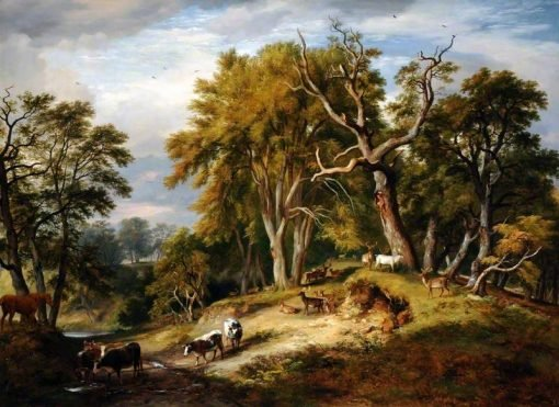 Cattle and Deer in Calke Park | Ramsay Richard Reinagle | Oil Painting