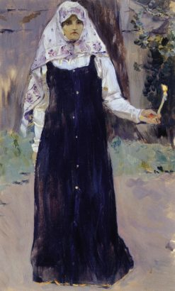 Woman with a Candle | Mikhail Vasilevich Nesterov | Oil Painting