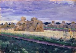 Haystacks   Mikhail Vasilevich Nesterov   Oil Painting