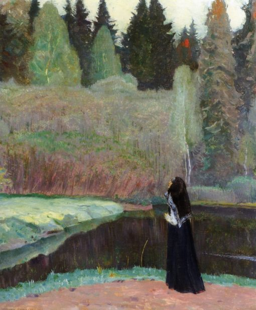The Nightingale is Singing   Mikhail Vasilevich Nesterov   Oil Painting
