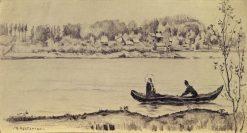Still Waters (study)   Mikhail Vasilevich Nesterov   Oil Painting