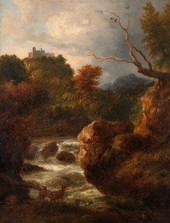 Mountain Stream with Deer | Ramsay Richard Reinagle | Oil Painting