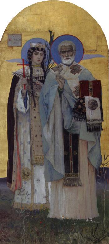 Queen Alexandra and St. Nicholas | Mikhail Vasilevich Nesterov | Oil Painting