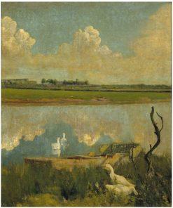 Geese on the Leie | Valerius de Saedeleer | Oil Painting