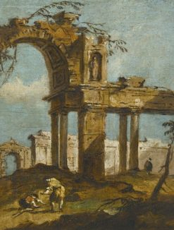 A capriccio of a ruined arch with figures in the foreground | Francesco Guardi | Oil Painting