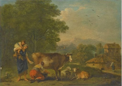 A Pastoral Landscape with a Milkmaid Milking a Cow | Francesco Zuccarelli | Oil Painting
