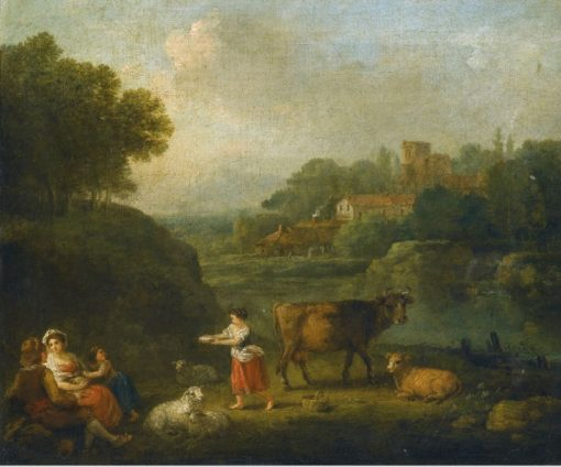 Landscape with Milkmaids Resting on the Banks of a River | Francesco Zuccarelli | Oil Painting