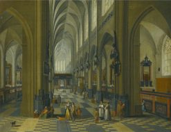 Interior of a Gothic Cathedral | Pieter Neefs the Elder | Oil Painting