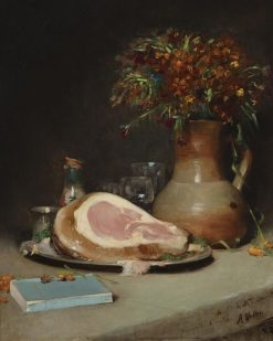 Still Life with Flowers and Ham | Antoine Vollon | Oil Painting