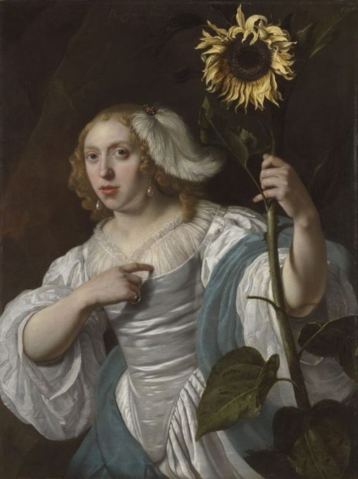 A Young Woman Holding a Sunflower   Bartholomeus van der Helst   Oil Painting