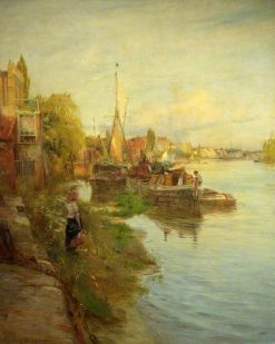 Barges on the Thames | Charles William Wyllie | Oil Painting