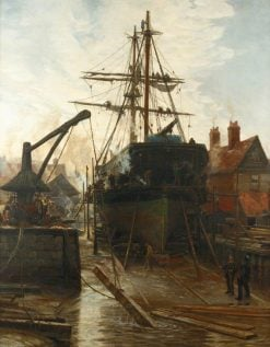 Home from the Brazils -  Refitting | Charles William Wyllie | Oil Painting
