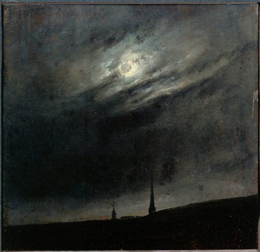 Moonlit night over Dresden   Johan Christian Claussen Dahl   Oil Painting