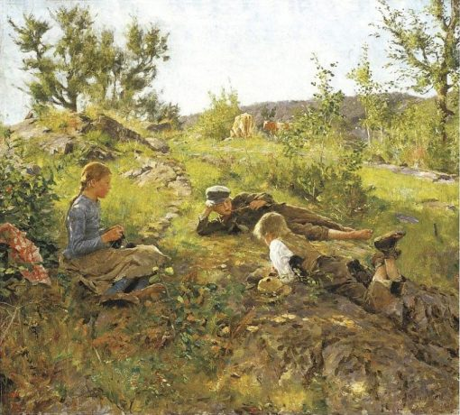 Shepherds at Tatøy   Erik Werenskiold   Oil Painting