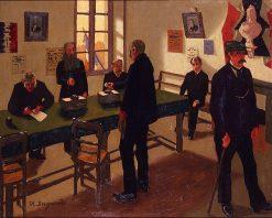 Votation a la mairie   Marius Borgeaud   Oil Painting