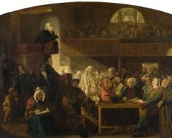 Dr Chalmers Preaching in a Country Church | William MacDuff | Oil Painting