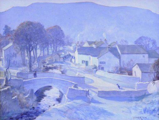 Village with Stream and Bridge | John Smith Atherton | Oil Painting