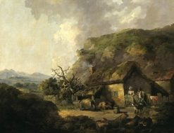 Cottage and Hilly Landscape   Thomas Hand   Oil Painting