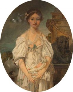 Standing Woman Holding Flowers (after Jean-Baptiste Greuze) | James Digman Wingfield | Oil Painting