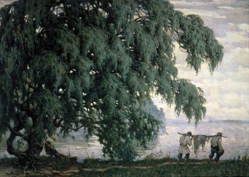 Landscape with Fishermen   Viktor Ivanovich Zarubin   Oil Painting