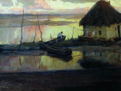 A Quiet Evening   Viktor Ivanovich Zarubin   Oil Painting