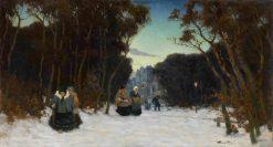 Winter Promenade   Viktor Ivanovich Zarubin   Oil Painting