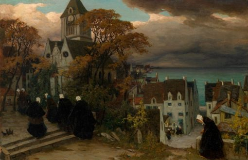 Breton Women on their Way to Mass   Viktor Ivanovich Zarubin   Oil Painting