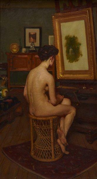 The Model   Lindsay Bernard Hall   Oil Painting