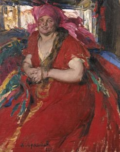 Peasant Woman in a Red Dress | Abram Efimovich Arkhipov | Oil Painting