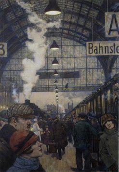 Railway Station | Hans Baluschek | Oil Painting