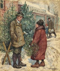 Christmas Tree Sale | Hans Baluschek | Oil Painting